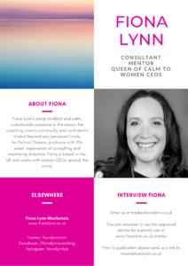Fiona Lynn; Consultant, Mentor, Queen of Calm - media kit
